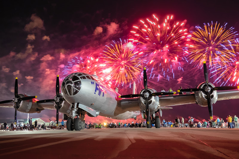Fireworks over the B-29 at Airventure 2015