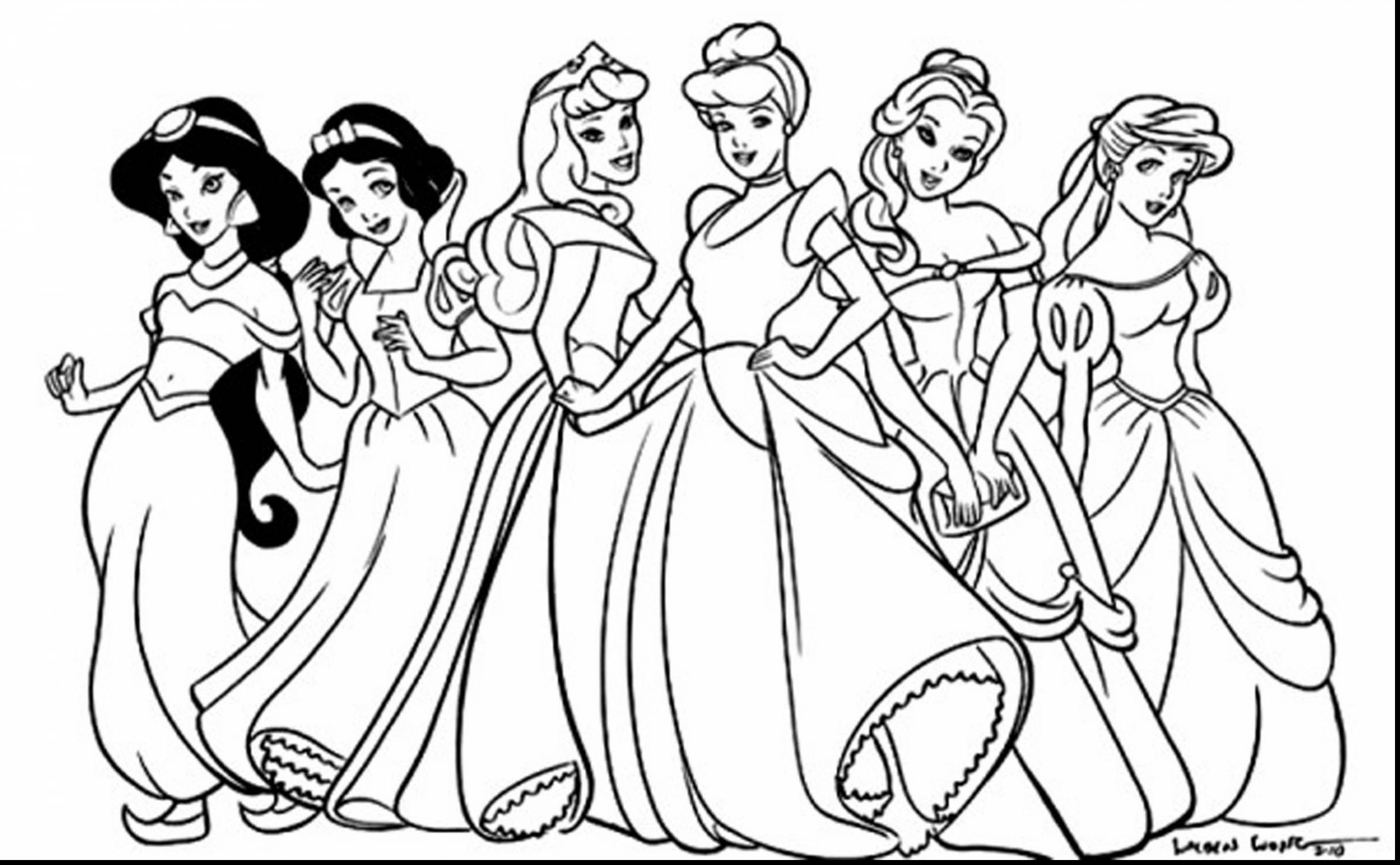 Disney Princesses Coloring Pages - Jasmine Snow White Cinderella ... | 1734x2805