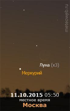 Убывающая Луна и Меркурий на утреннем небе Москвы 11 октября 2015 г.