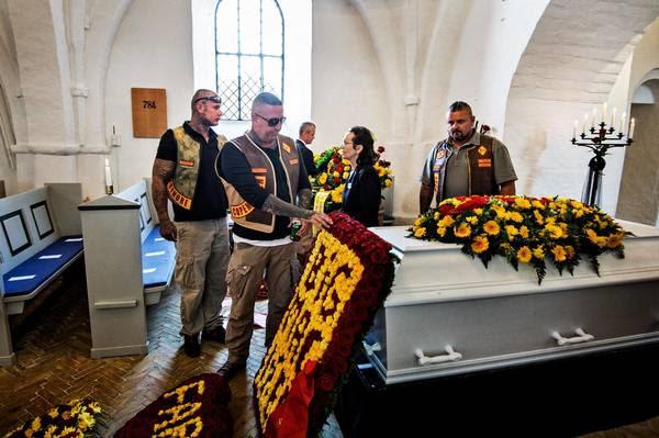 Rockere under begravelsen af 'Big Mac' i 2014. Arkivfoto: Henning Hjorth