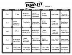 Insanity Workout Calendar - PDF   Fitness   Pinterest   Insanity ...