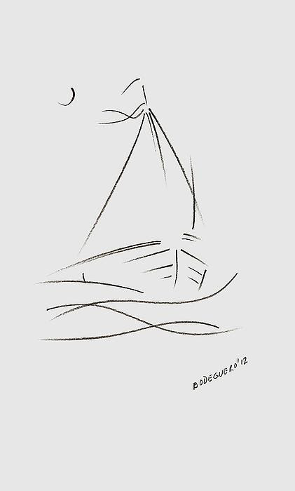 Simple Sailboat Drawing by Mario  Perez