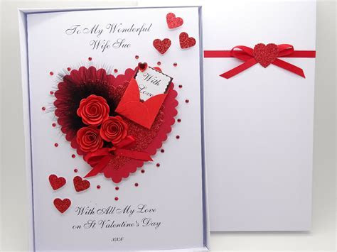 Handmade Personalised Valentines Day Card/Ruby Anniversary