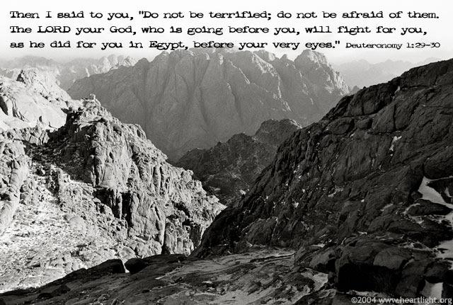Inspirational illustration of Deuteronomy 1:29-30