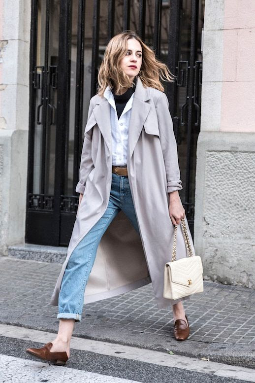 Le Fashion Blog Fall Blogger Style Long Grey Trench Coat Black Turtleneck White Button Down Shirt Cream Chanel Bag Vintage Style Cuffed Jeans Brown Mule Loafers Via Dans Vogue