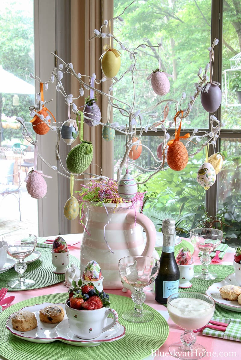 Easter tree on table