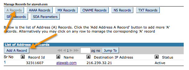 Add A Record to domain