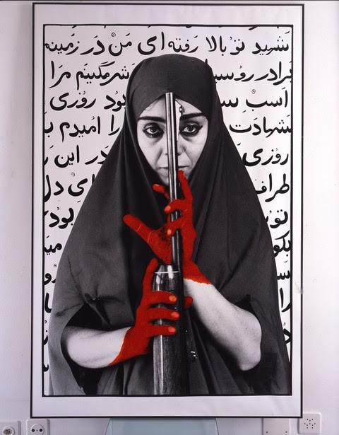 Shirin Neshat Seeking Martyrdom – Variation #1 1995 Stampa alla gelatina ai sali d'argento e inchiostro, foto scattata da Cynthia Preston 155 x 102 cm Edizione 1/3