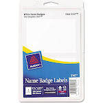 """Avery Name badge labels, 2.4"""" x 3.3"""", White - 100 count"""