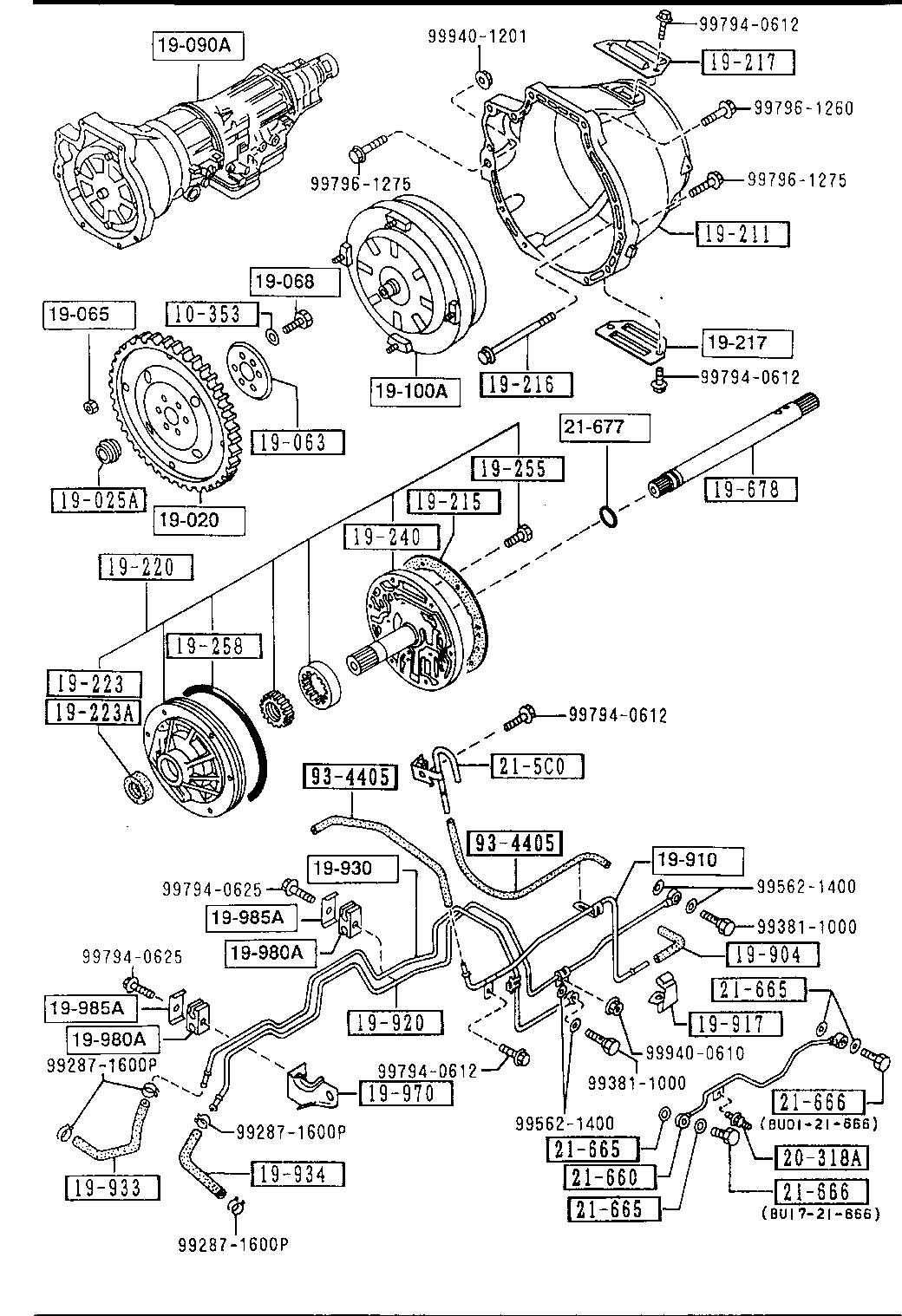 Usa 1991 Miata Gasoline Engine Transmission 1910 Automatic Transmission Torque Converter Oil Pump Pipings Catcar Info