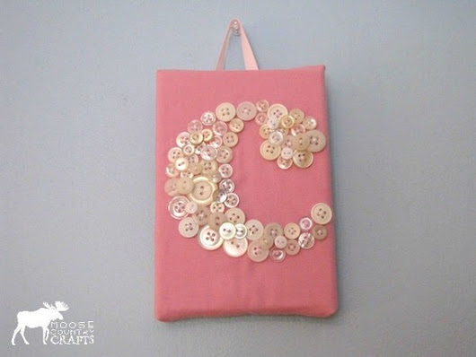 Small Fabric Button Initial  5x7 lower case by MooseCountryCrafts
