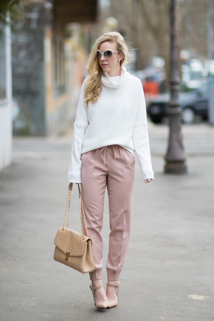 blush  bows cowlneck sweater pink pants  nude pumps