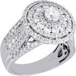14K White Gold Round Solitaire Diamond Cluster Halo Flower Engagement Ring 2 Ct.