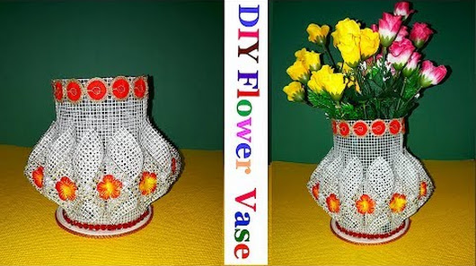 How To Make Flower Vasepot With Plastic Canvas Diy Flower Pot