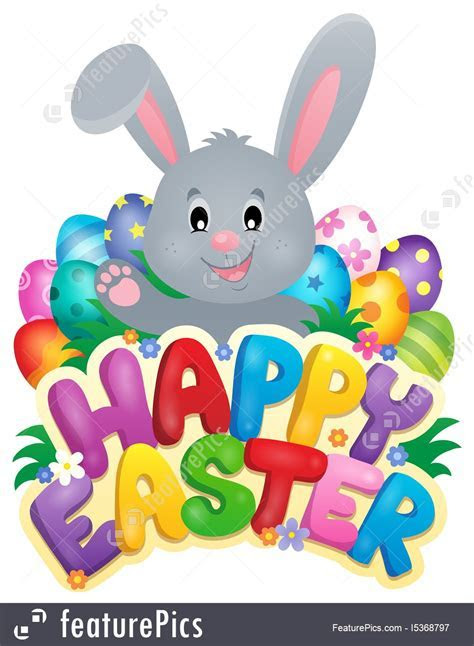 Holidays: Happy Easter Sign With Bunny And Eggs   Stock Illustration I5368797 at FeaturePics