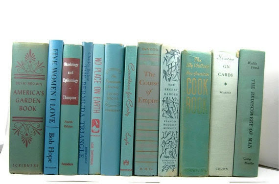 Beach Blue Green Vintage Decorative Books for Wedding Decor Table Setting Interior Design or  Photography Prop