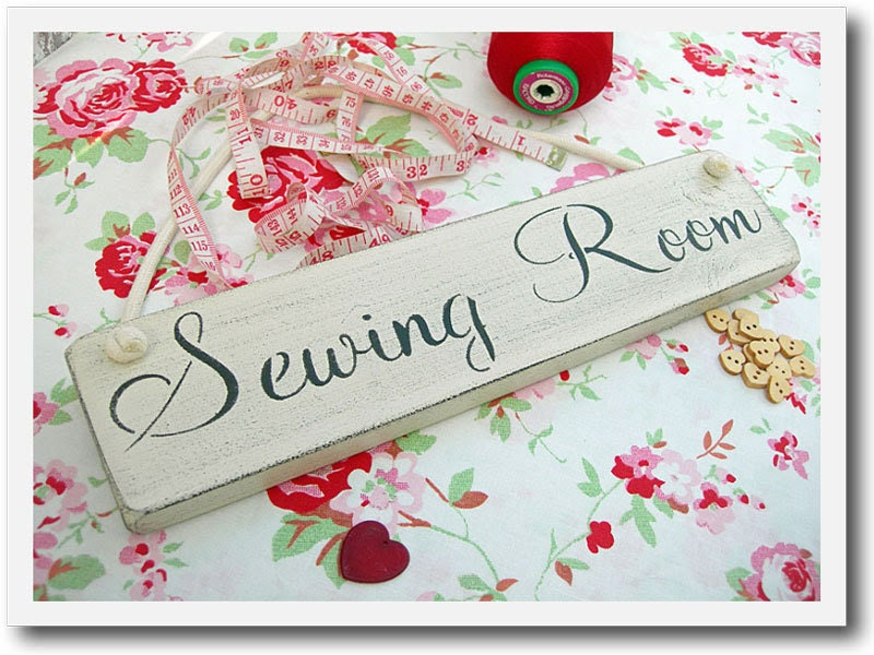 Sewing Room Painted Wooden Door /  Wall Sign                                           Hand Painted  Color And Mounting Style Of Your Choice