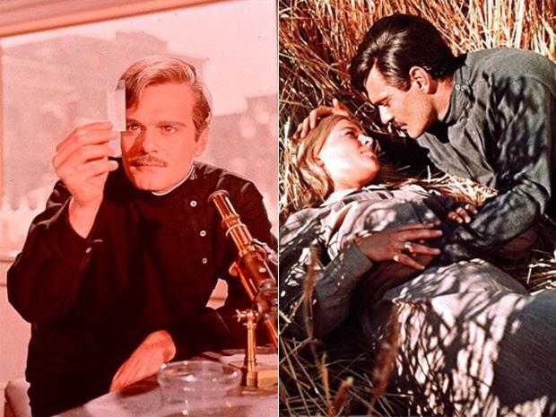 Omar Sharif no filme Doutor Jivago (1965), com Julie Christie; e sozinho (Foto: Divulgação/Warner)