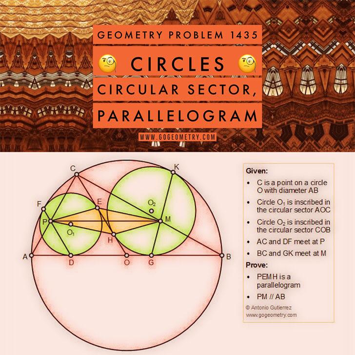 Problema de Geometría 1435 Circunferencia, Diametro, Circunferencia Inscrita, Sector Circular, Paralelogramo, Rectas Paralelas, Puntos de Tangencia,iPad, Apps, poster, tipografia. Ingles ESL, English.