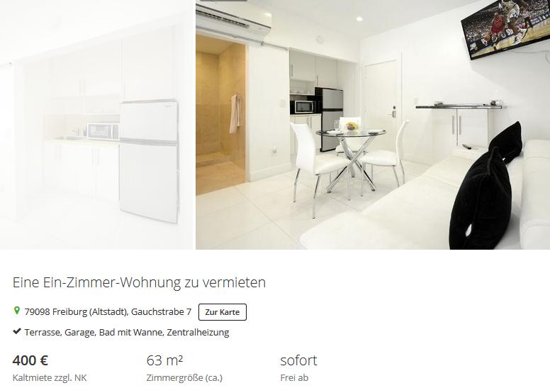eine ein zimmer wohnung zu vermieten 79098. Black Bedroom Furniture Sets. Home Design Ideas