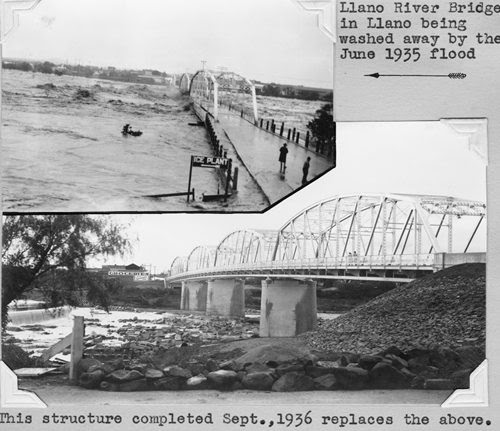 LLano River Bridge washed away by 1935 flood, and 1936  bridge