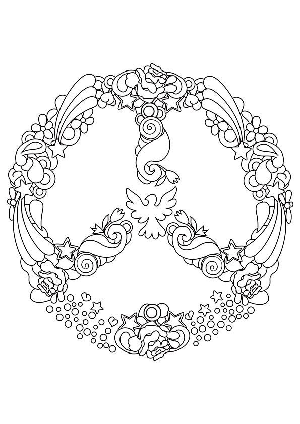 Heart Peace Sign Coloring Pages At Getdrawingscom Free For