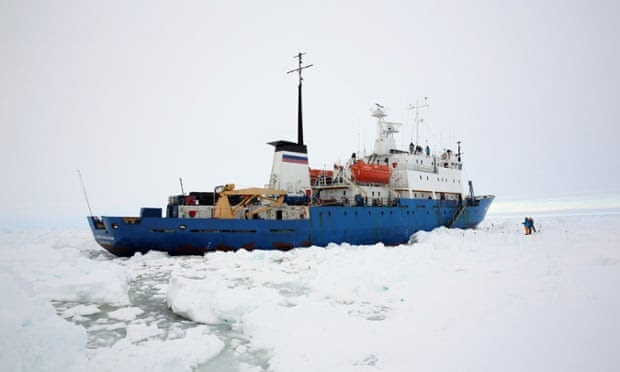A view of the trapped Akademik Shokalskiy from across the ice in Antarctica.
