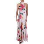 Laundry by Shelli Segal Womens Printed Sleeveless Halter Dress Pink