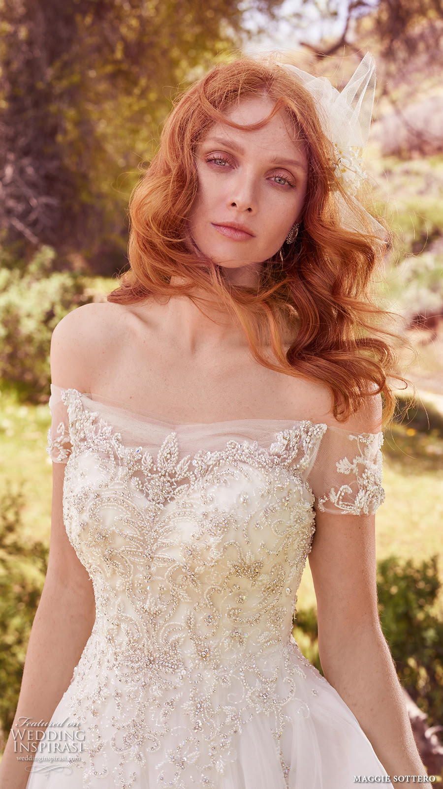 maggie sottero spring 2017 bridal off the shoulder wrap sweetheart neckline heavily embellished bodice romantic princess a line wedding dress chapel train iris zv