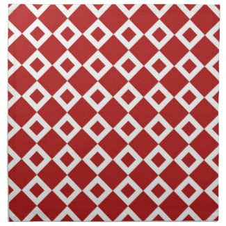 Red and White Diamond Pattern Cloth Napkin