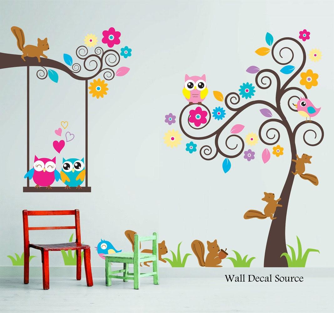 Nursery Wall Decal - Birds, Owls, Squirrels - Swirly Tree Wall Decal - Cute Wall Decals - Kids Wall Decals - Childrens Wall Decals - WallDecalSource