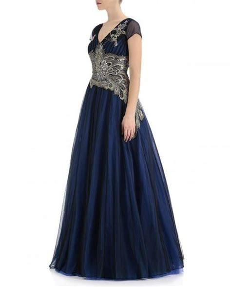 Midnight Blue Color Indo Western Gown ? Panache Haute Couture