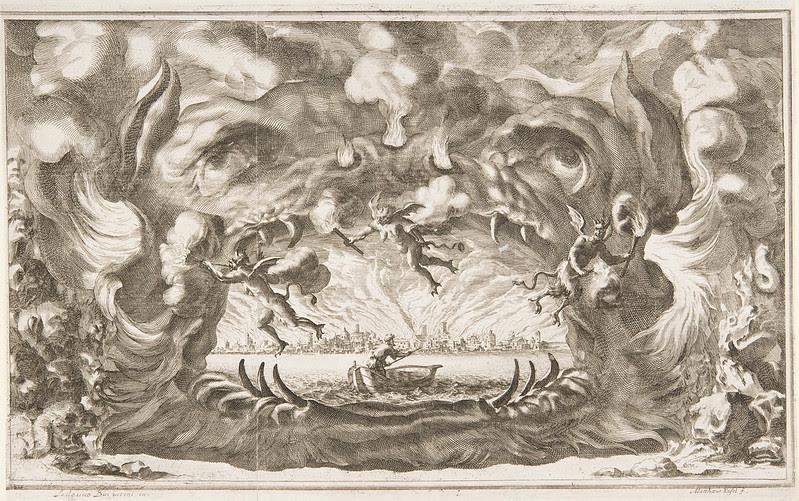 "Ludovico Ottavio Burnacini / Mathäus Küsel - Stage Design for the opera ""Il pomo d'oro ' (Storm Scene) 1667"