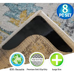 Reusable Corner Area Carpet Rug Grippers - V Shaped - Prevents Curling, Moving, Sliding, & Slipping - Anchors Carpet To Your Floor - 8pc Set
