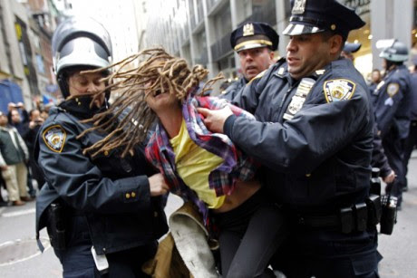 An Occupy Wall Street demonstrator is arrested