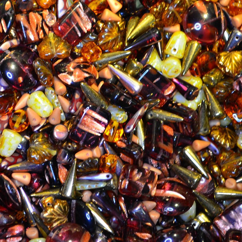 s45080 BeadFX Bead Mix -  Czech Glass and Firepolish Mix - Victorian Story (Pack)