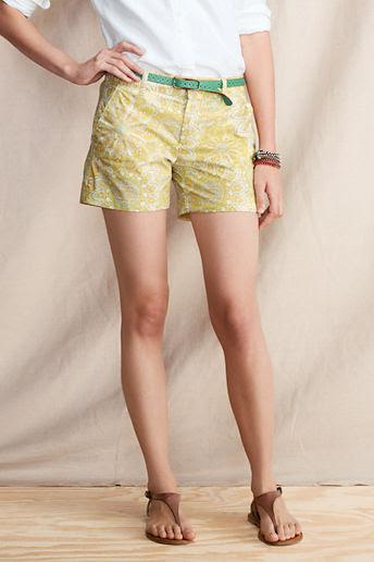 Women's 5  Paisley Poplin Shorts - Creme De Menthe Paisley