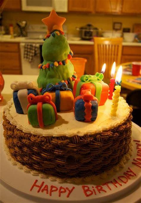 Basket weave birthday cake with Christmas tree and
