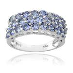 Glitzy Rocks Sterling Silver 3-Tier Tanzanite Eternity Ring, Women's