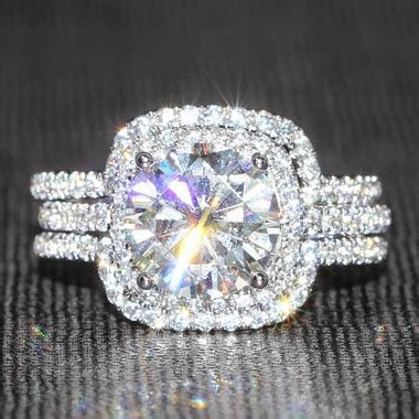 Eternal Moissanite   14K White Gold 3CT Round Wedding