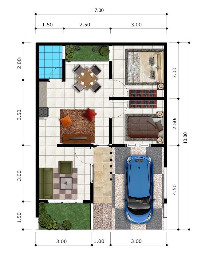 Denah Rumah Minimalis Tipe 45 | Ide Rumah Minimalis
