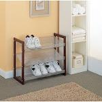 Organize It All 17053 3 Tier Shoe Shelf, Silver/Brown
