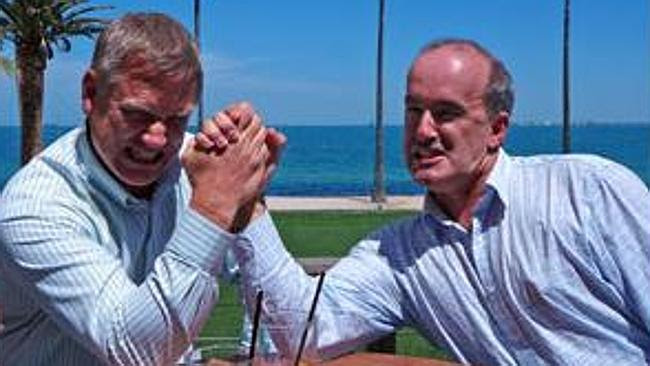 Andrew Bolt wrestles with reef researcher Ove Hoegh-Guldberg. Picture: ABC