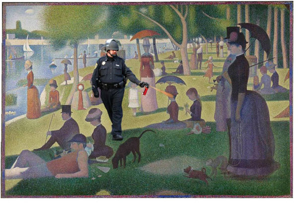 "The Casually Pepper Spraying Everything Cop takes a walk through Georges Seurat's ""Sunday Afternoon on the Island of La Grand Jatte"""