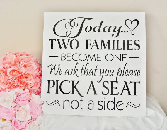 Xl Large Wedding Sign 18 Today Two Families Become One Pick A Seat