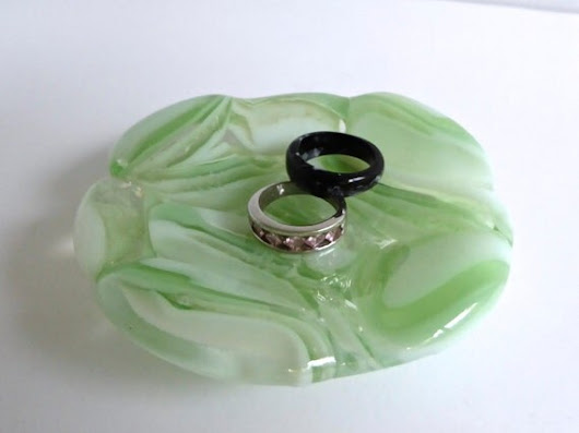 Fused Glass Ring Dish in Pale Green by bprdesigns on Etsy