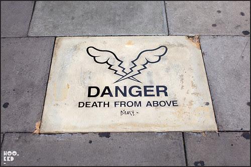 Street Artist D*Face Danger. Death From Above Sculpture