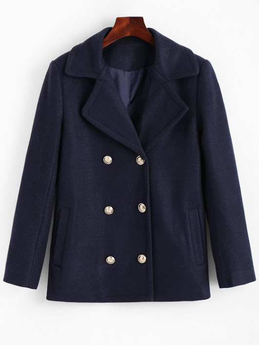 Double Breasted Lapel Collar Coat with Pockets