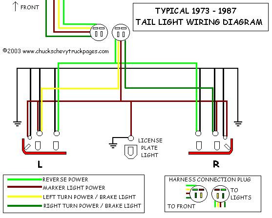 Headlight And Tail Light Wiring Schematic Diagram Typical 1973 1987 Chevrolet Truck Chevy Truck Wiring Chuck S Chevy Truck Pages