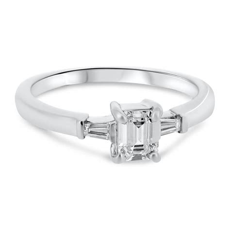 Platinum Emerald Cut Diamond with Tapered Baguette Cut